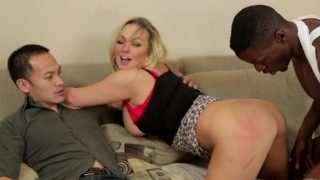 gorgeous blonde bbw invites a immense big black cock back to her place hubby witnesses